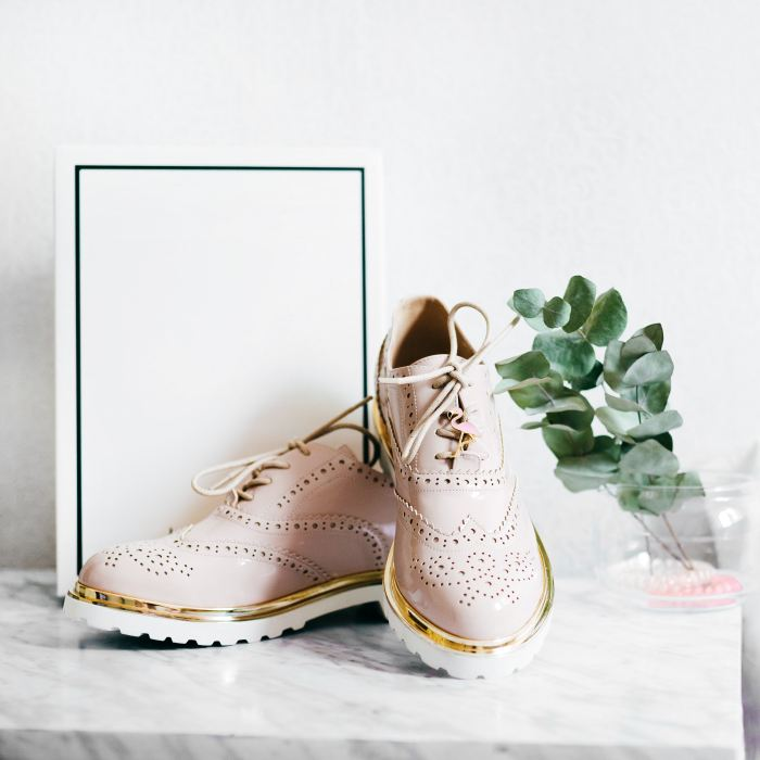 pastel blush pink wingtip sneakers